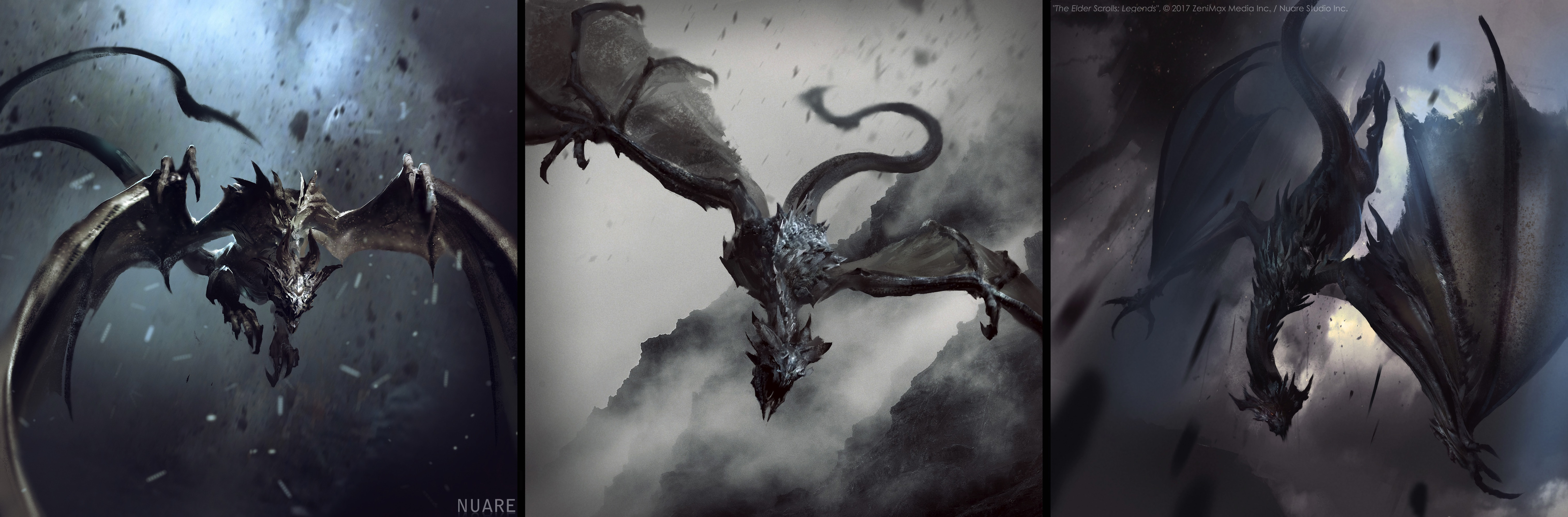Skyborn Dragon Sketches_6061x2000